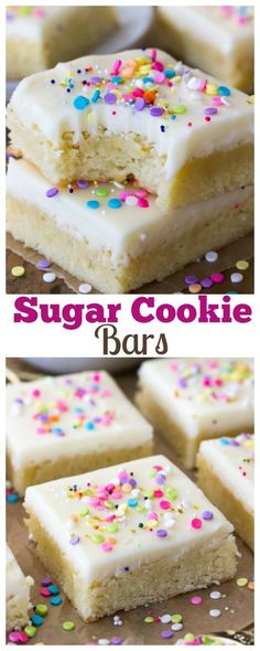 Buttery-soft sugar cookie bars topped off with a sweet buttercream frosting and plenty of colorful sprinkles! Buttery-soft sugar cookie bars topped off with a sweet buttercream frosting and plenty of colorful sprinkles! Sugar Cookie Cakes, Chewy Sugar Cookies, Sprinkle Cookies, Sugar Cookie Frosting, Sugar Cookie Dough, Sugar Cookies Recipe, Cookies Et Biscuits, Cupcake Cakes, Buttercream Frosting