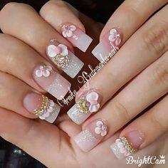 Sexy Nail Art, Sexy Nails, Chic Nails, 3d Nail Designs, French Nail Designs, Colorful Nail Designs, Bling Acrylic Nails, 3d Nails, Michelle Nails
