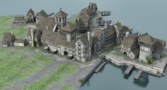 medieval port 3D Buildings Artwork, Old Buildings, Bamboo House Design, Minecraft Medieval, Medieval Houses, Building Concept, Wargaming Terrain, Minecraft Projects, Fantasy Map