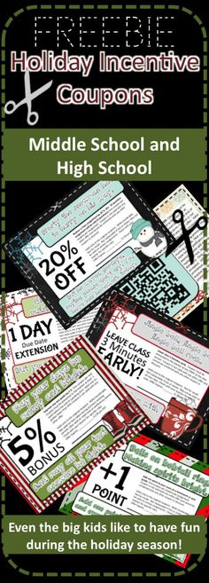 FREE holiday incentive coupons for use in middle and high school.  Even the big kids like to have fun during the holidays.  Happy holidays from Kate's Classroom Cafe!