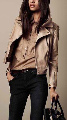 Cool biker jacket..and black denium jeans.  Sharp!