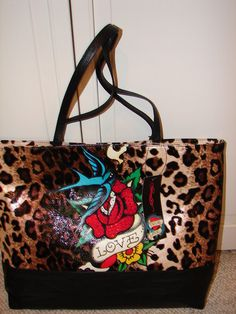 6a73be4ffb0 NEW Ed Hardy LG Leopard Skin Rose Tote Hand Bag TRUE LOVE 16x13x4