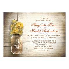 Mason jar and yellow flowers rustic country wedding invitations