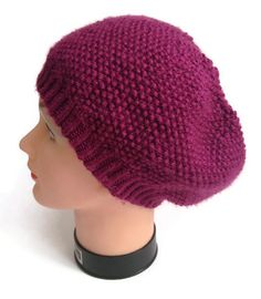 Purple Slouchy Hat Slouchy Beanie Handknit by MadebyMegShop, $30.00 #purple #eggplant #slouchy #beanie #hat #handknit #slouchyhat