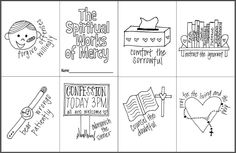 The Spiritual Works of Mercy Mini Coloring Book- Free printable for Catholic Kids