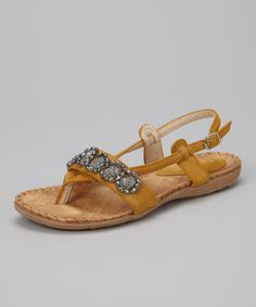 Take a look at this Yellow Beaded Spain Sandal by Henry Ferrera on #zulily today!