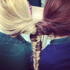 """""""best friend fishtails"""" I don't think @Skylar Padia and i could stay still this long, we'd end up fighting each other for space :P"""