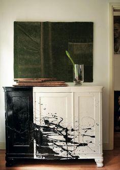 update an old cupboard : a la Jackson Pollock