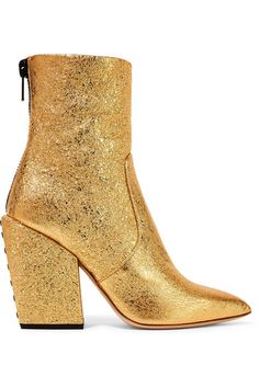 Petar Petrov - Solar Metallic Cracked-leather Ankle Boots - Gold