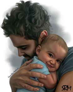 Father And Baby 04 by SeemaRMadnani on DeviantArt Family Portrait Painting, Baby Painting, Family Portraits, Father And Baby, Indian Paintings, Blouse Designs, Deviantart, Couple Photos, Face