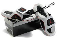 afb91ebeddd70e Cheap Air Jordans 5 Massage Slippers White Black Red