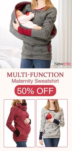 54a8b508e5dfa Multi-Function Maternity O-Neck Printed Nursing Sweatshirt #sweatshirt # shirts #maternity