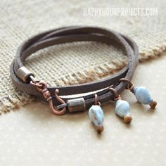 Shells and Suede DIY Bracelet | Look what the tide brought it! Loving this wrap bracelet.