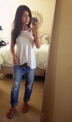 Everyday Casual: boyfriend jeans and gladiator flats