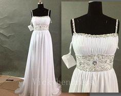 Long Wedding Dress, Silver Beads / Sequins Wedding Dress, Sweep Train Chiffon Wedding Dress, Ivory / White Wedding Dress beach wedding dress