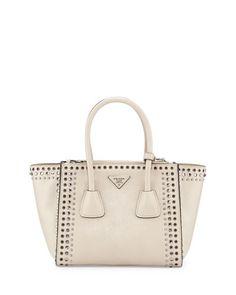 V2B8A Prada Glace Calf Twin Pocket Tote Bag w/Studs, White