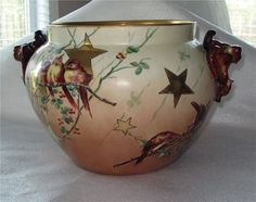 Beautiful Handpainted Limoges Jar, Sweet Birds,& Gold Star Design, Signed.According to seller, circa 1920; I suspect it may be earlier (1890's-1910?)