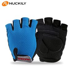 NEW NUCKILY Summer Bicycle Gloves Half Finger Cycling Glove Sponge Pad Non-slip Breathable Man Women MTB Bike Gloves Fingerless