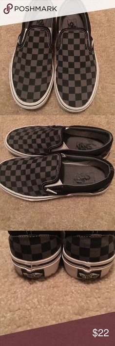 45e7618cfd3258 Black and gray vans Vans classic slip ons black and gray checkered Vans  Shoes Flats   Loafers