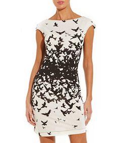Miss Sixty White Bird Print Dress