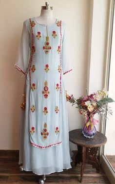 Powder Blue Embroidered Dress by Label Kanupriya Kurti Designs Party Wear, Kurta Designs, Blouse Designs, Dress Indian Style, Indian Dresses, Indian Outfits, Indian Wear, Indian Skirt, Indian Attire