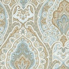 Vassar Horizon Blue Floral Paisley Cotton Drapery Fabric - SW51021 - Fabric By The Yard At Discount Prices