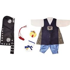 Dark blue floral patch and Sky blue - Boy Dol Hanbok Set - 7 Pieces