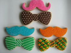 'stache and bow ties by sugarlily cookie, via Flickr