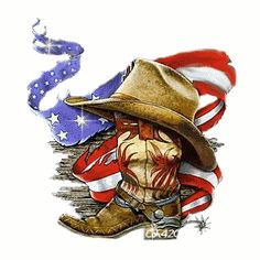 The flag not as shredded and music notes popping around image.  Also no hat and no spur on boot