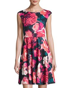ELIZA J FLORAL-PRINT FIT-AND-FLARE DRESS, RED MULTI. #elizaj #cloth #