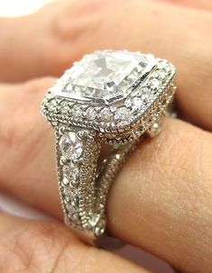 Engagement Rings for women Round Diamond Split Shank Style carat tw White Gold – GIA Certificate (Ring Size – Fine Jewelry & Collectibles Vintage Diamond Rings, Vintage Rings, Diamond Jewelry, Vintage Jewelry, Gemstone Jewelry, Handmade Jewelry, Do It Yourself Fashion, Ring Set, Ring Ring