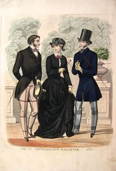Vintage Hand Coloured Victorian Men's Fashion Print - 1853