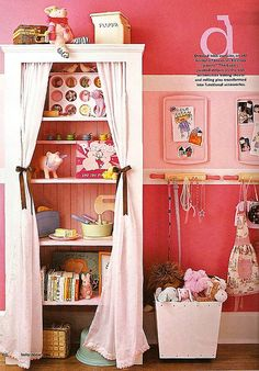 Closet solution for gg's room.Repurpose old kitchen gear as fun storage solutions. Here rolling pins hold accessories, baking pans create magnet boards and a muffin tin holds little trinkets. Kids Storage, Storage Room, Easy Storage, Storage Ideas, Hanging Storage, Hanging Racks, Girls Bedroom, Bedroom Decor, Childs Bedroom