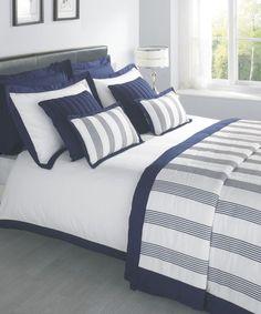 Portland Luxury Bedding By Julian Charles Navy Blue Bedding, Blue Bedroom, White Bedding, Bedroom Colors, Dream Bedroom, Bedroom Decor, Bedding Sets Online, Luxury Bedding Sets, Hotel Collection Bedding