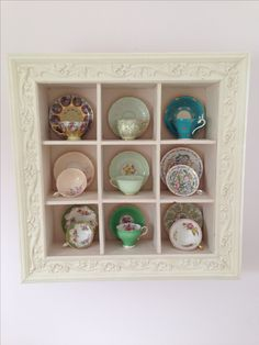 51 New Ideas For Kitchen Wall Display Tea Cups Tea Cup Display, Dish Display, China Display, Teacup Crafts, Displaying Collections, My Cup Of Tea, Frames On Wall, Framed Wall, Tea Set