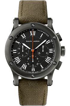 Ralph Lauren Men's RL67 Safari Chronograph Watch with Brushed Steel Case and Green Canvas Strap � RLR0230900 � Ben Garelick Jewelers