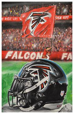 JEREMY WORST Atlanta Falcons Rise up Helmet Artwork Signed Print poster by JeremyWorst on Etsy
