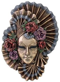 Sale - Art Deco - Venetian Style Carnival Mask - Wall Decor Lady Peony Material: Cold Cast Bronze Dimensions: L: W: Gift Boxed Ships in business days Venice Mask, Venetian Masquerade Masks, Carnival Masks, Masks Art, Mural Art, Mixed Media Canvas, Wall Plaques, Mask Design, Clowns