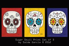 Day of the Dead set of 3 sugar skulls Original Art prints by saide, $12.00