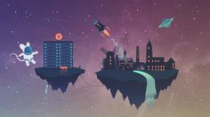 Flat Art City In space by Suussa.deviantart.com on @DeviantArt #FlatArt #City #Space #Mouse #Gazelle #DmgOn #Planet #SpaceShip #Stars #Fantasy #Turku #Aurajoki #Mylly #Finland #Flat #Art #Illustrator