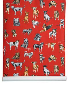 The Dog Adoption - Red  [DOG-81002] Designer Artist Series | DesignerWallcoverings.com ™ - Your One Stop Showroom for Custom, Natural, & Specialty Wallcoverings | Largest Selection of Wall Papers | World Wide Showroom | Wallpaper Printers