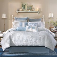 Create a nautical bedroom with this Harbor House Crystal Beach comforter collection. Beach House Decor, House, Beach Cottage Decor, Coastal Bedrooms, Home Decor, House Interior, Beach Comforter, Harbor House, Coastal Bedroom