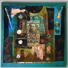 """Vestment"" Lyn Belisle 2015 - stitched fiber and cotton on stretched canvas with dye, foil and digital phototransfer"