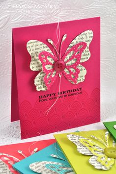 Quick Cards For Busy Summers. Could do this with real book pages and any butterfly die you have!