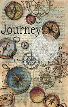 Journey Mixed Media Drawing on Distressed, Dictionary Page - flying shoes art studio
