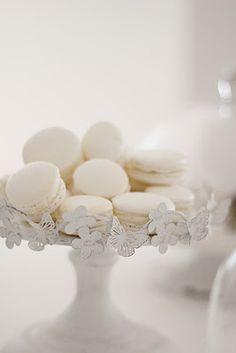 beautiful white french macarons