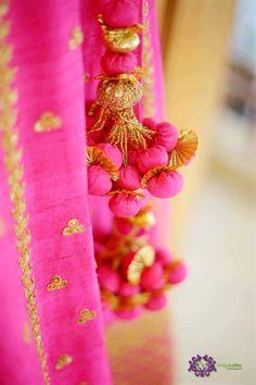 Looking for pink latkans? Browse of latest bridal photos, lehenga & jewelry designs, decor ideas, etc. on WedMeGood Gallery. Lehenga Jewellery, Saree Tassels, Tassel Jewelry, Jewellery Diy, Lotus Design, Flower Ball, Bridal Lehenga, Wedding Looks, Beaded Embroidery