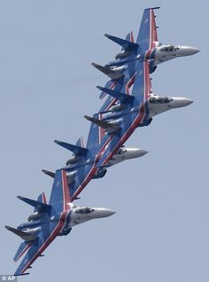 jets from the Russkiye Vityasy, or Russian Knights aerobatics team perform during an air show at the International Maritime Defence show in St. Military Shows, Military Jets, Airplane Fighter, Fighter Aircraft, Air Fighter, Fighter Jets, Russian Military Aircraft, Russian Plane, Russian Air Force