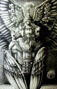 """Kuribu: Guardian jinni of Mesopotamia. The Hebrew name for this being is """"Cherubim"""", not to be confused with the Cherubim in Christian mythology which borrowed a great deal of Greco-Roman mythos and bastardizing the Cherub jinni into an angelized infant. Mythological Creatures, Mythical Creatures, Order Of Angels, Aztecas Art, Cherub Tattoo, Arte Cyberpunk, Carlin, Esoteric Art, Ancient Mesopotamia"""
