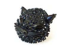 Black Cat Brooch, Black Rhinestones, Kitty Face Head, Whiskers, Japanned, Unsigned Warner, Vintage Jewelry by zephyrvintage on Etsy